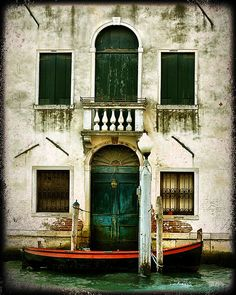 Venice Photograph emerald green Venetian door art by TraceyCapone