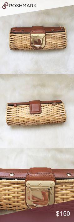 Santorini Rattan Clutch - Authentic  - Retails $268 - Measures: 9.5' x 2.5' x 5' approximately - No trades - Offers Michael Kors Bags Clutches & Wristlets
