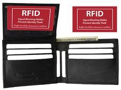 RFID Blocking Security Men's Bifold Card Id Credit Flap Top Leather Wallet Black