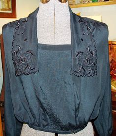 Antique Victorian EDWARDIAN SHIRTWAIST BLOUSE Mourning Black Silk