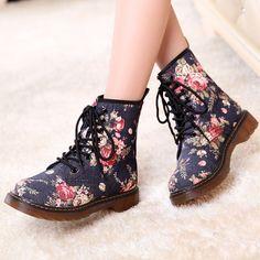 www.sanrense.com - Fashionable harajuku floral martin boots
