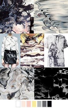 Modeconnect.com - Marble Themed Moodboard...Show Modern Design how to create a board to pull inspirations for colors, patterns, textures and overall theme