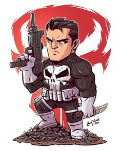 Chibi The Punisher Marvel Dc Comics, Chibi Marvel, Marvel Cartoons, Marvel Art, Marvel Heroes, Chibi Superhero, Comic Book Characters, Marvel Characters, Comic Character