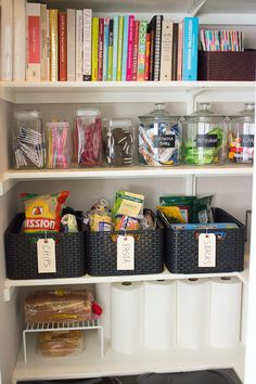 Kitchen pantry organization using Curver bins from @containerstore. I use these bins in my laundry room to organize shoes and I love them! Lots of great home decor ideas in this Living With Kids post.