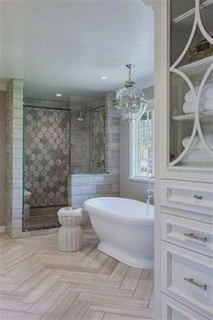 Beautiful master bathroom decor tips. Modern Farmhouse, Rustic Modern, Classic, light and airy master bathroom design ideas. Bathroom makeover tips and master bathroom remodel ideas. Bathroom Layout, Bathroom Interior, Bathroom Designs, Tile Layout, Bathroom Colors, Industrial Bathroom, Bathtub Designs, Floor Layout, Interior Doors