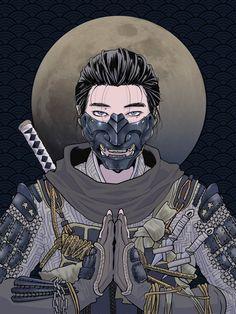 Japanese Oni Mask, Japanese Art Samurai, Japanese Pop Art, Japanese Drawings, Japanese Warrior, Japanese Tattoo Art, Samurai Drawing, Warrior Drawing, Samurai Artwork