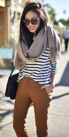 #thanksgiving #fashion · Brown Scarf // Striped Tee // Black Shoulder Bag // Brown Pants