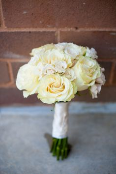 simple, white rose bridal bouquet from Thea & Aaron's DIY, Creative Northern Virginia wedding