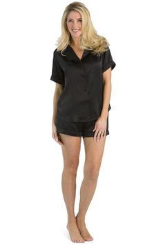 0220a60dd Women s 100% Mulberry Silk Short Sleeve Pajama Set with Gift Box