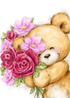 Cute bear holding flowers for Grandmother's birthday card. Cards are shipped the Next Business Day. Bear Images, Teddy Bear Pictures, Cute Images, Cute Pictures, Animal Drawings, Cute Drawings, Scrapbooking Stickers, Grandmother Birthday, Photocollage