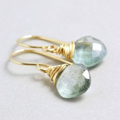 Moss Aquamarine Earrings March Birthstone Sage Green by NansGlam, $40.00