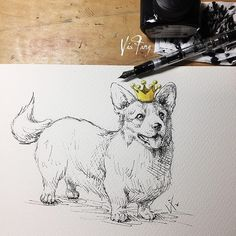 I, I will be king And you, you will be queen . . . #dog #pet #corgi #corgisofinstagram #illustration #illustrator #art #artsy #artist #artwork #artoftheday #dailyart #drawing #sketch #ink #doodle #watercolor #pelikan #fountainpen #instaart #instalike #instadraw #instadog #instapet #イラスト #ilustracion #插畫 #素描 #插圖 #viafang