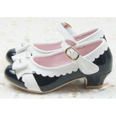 Black White Patent Leather Low Heel Girls Party Dress Mary Jane Shoes SKU-133375