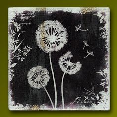 Dandelion Friends  Handmade Glass and Wood Wall Blox from Upcycled Dictionary page book art - WilD WorDz - Dandilion 4 of 4 Believe on Etsy, $27.50