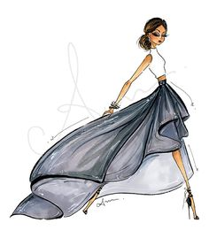 Fashion Illustration Print Gray Ballskirt 8x10 by anumt on Etsy