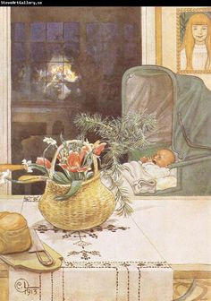 Carl Larsson - Gunlög without her Mama, 1913