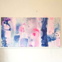 Abstract painting with rose and blue by artist Mette Lindberg. www.mettesmaleri.dk