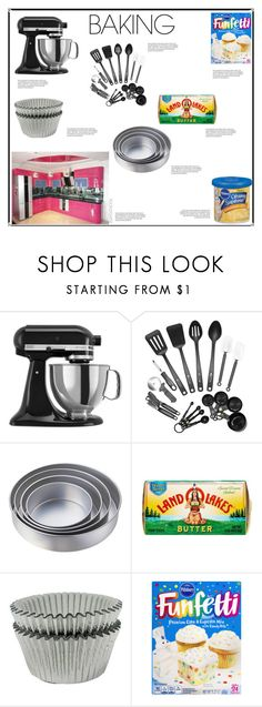 """""""Let's Get Baking!"""" by irockcrowns ❤ liked on Polyvore featuring interior, interiors, interior design, home, home decor, interior decorating, KitchenAid and Wilton"""