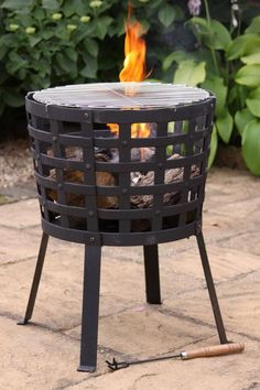 This cast iron fire basket has cast iron sides and steel legs and bottom. The fire basket comes complete with chromed BBQ grill so not only can you keep warm in the garden, at the beach or camping but you can cook as well!This item can also be used as a garden incinerator, brazier to burn unwanted garden waste.