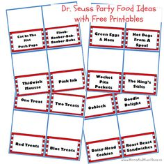 These silly & fun Dr. Seuss food ideas come with free printable food cards to use on your buffet table. Lots of creative ideas here to use in your party! Dr Seuss Birthday Party, First Birthday Parties, 2nd Birthday, Birthday Ideas, Dr Seuss Printables, Free Printables, Cat In The Hat Party, Party Food Labels, Dr Seuss Baby Shower