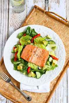 Salmon & Avocado Salad Recipe with Miso Lime Dressing | cookincanuck.com by CookinCanuck