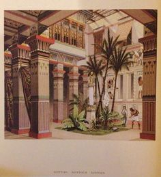 """Internal courtyard.  Ancient Egypt. """"The complete costume history"""" Auguste Racinet by Taschen"""