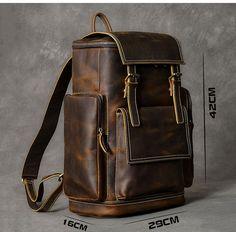 twenty four street British design large capacity traveler backpack Mochila Formal, Cow Leather, Cowhide Leather, Mochila Retro, Leather Backpack For Men, Leather Bag Men, Leather Bag Design, Leather Backpacks, Vintage Backpacks