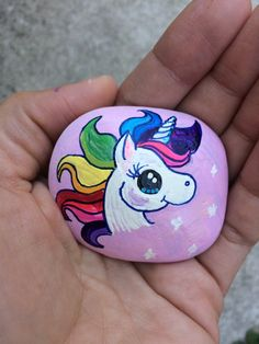 Unicorn Painted Stone by XticksnXtones on Etsy More