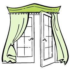 Patio Doors: Cornice & Draperies - like the idea for hiding the curtain rod under the valance for a clean look