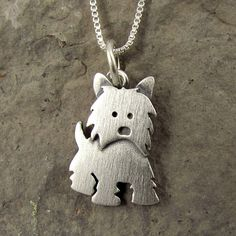 This adorable little Westie is made of sterling silver. The pendant itself is about 1/2 tall, which means this is a TINY Westie, but thats a big part of what makes him so cute. You can purchase just the pendant/charm, or complete the necklace with a sterling silver box chain (four