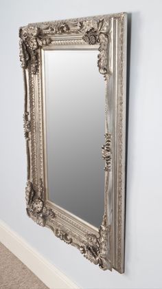 Louise Silver Rectangle Ornate Silver Louis Style Carved Wall Mirror