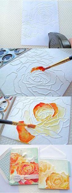 DIY Distress Watercolor Dry Embosing