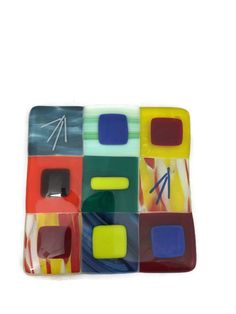Fused glass trivet. 6 inch square in a by SassyGlassBySuzy on Etsy