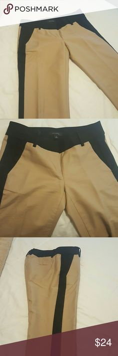ANN TAYLOR KHAKI BLACK STRIPED PANTS Perfect condition, sharp looking khaki trouser with black side trim on leg and waist. Great for work or casual wear.  From a smoke free home. Ann Taylor Pants Ankle & Cropped