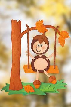 Handicrafts in autumn: window picture - Diy Fall Decor Kids Crafts, Fall Crafts For Kids, Art For Kids, Diy And Crafts, Paper Crafts, Fall Arts And Crafts, Autumn Crafts, Autumn Art, Autumn Theme