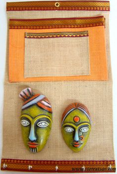 Home Decor Key Holder, Envelope, and Papers Holder with Paper Mache Tribal Faces on Matty Home Decor Pondicherry Style of South India by storeutsav. Explore more products on http://storeutsav.etsy.com