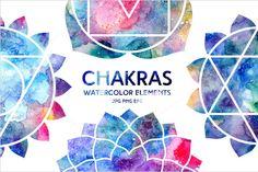 Chakras by Marina Demidova on @creativemarket Watercolor Sky, Watercolor Texture, Watercolor And Ink, Business Illustration, Pencil Illustration, Ayurveda, Chakras, Cosmos, Spiritual Logo