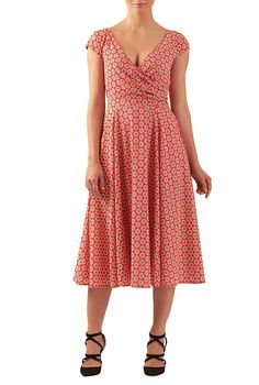 5428b786d21 eShakti Women s Pleated surplice floral tile print dress XL-16 Tall  Mandarin red multi at