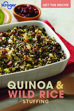 Quinoa and Wild Rice Stuffing Get this healthy stuffing recipe from Fred Meyer. Quinoa & Wild Rice Stuffing makes a tasty and healthy holiday side dish. Rice Stuffing, Stuffing Recipes, Vegan Stuffing, Casserole Recipes, Clean Eating Recipes, Healthy Eating, Cooking Recipes, Healthy Food, Healthy Meals