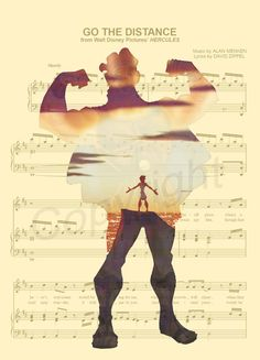 Here is an art print of Young Hercules in older Hercules Silhouette on the sheet music for the song 'Go The Distance'. This is perfect for any Hercules/Disney f Disney Pixar, Disney Songs, Disney Art, Disney Sheet Music, Deco Disney, Animation Disney, Sheet Music Art, Disney And Dreamworks, Meg Hercules