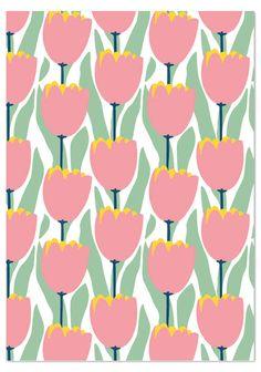 Tulppaanit (pienet vaaleanpunaiset) postikortti