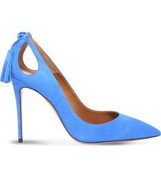 Aquazzura Forever Marilyn 105 Suede Heeled Courts In Mid Blue Blue Stilettos, Blue High Heels, Blue Pumps, Pointed Toe Pumps, High Heel Pumps, Pumps Heels, Shoes Sandals, Stiletto Shoes, Suede Heels