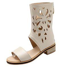 Azbro Women's Open Toe Block Heels Gladiator Mid-calf Boots Sandals, Beige EURO36/US5/UK3 - Sandalen für frauen (*Partner-Link)
