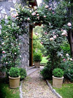 Gartengestaltung mit Kies und Steinen rosen pflankübel fußweg