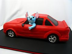 Corvette, mustang, 3-d carved car cake, lilo and stitch, groom's cake, 3-d groom's cake, car cake