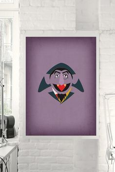 "Sesame Street Character ""Count von Count"" Minimalist Print - Retro Decoration Home Wall Nursery Art Birthday Party Invitation"