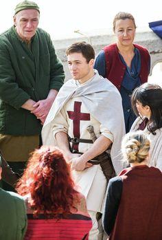 Taron Egerton on the set of 'Robin Hood: Origins' in Dubrovnik, Croatia, on February 20, 2017.