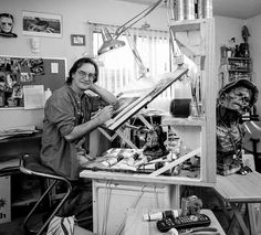Greg Preston put out a book around photos of artists in their studios. Outtake from then. Comic Book Artists, Comic Artist, Comic Books, Artist Workspace, Bernie Wrightson, Painters Studio, Book Creator, My Art Studio, Art Studios