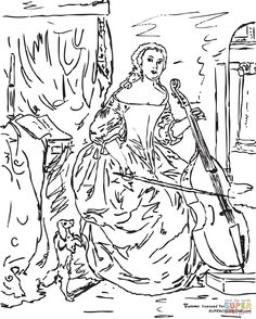 Woman Playing The Viola Da Gamba By Gabriel Metsu Coloring Page From Misc Select 27237 Printable Crafts Of Cartoons Nature Animals Bible And Many