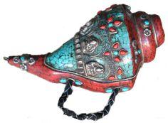 Auspicious Right Spiraling conch shell horn Tibetan Art, Tibetan Buddhism, Conch Shells, Shell Decorations, Arm Art, Nataraja, Painted Shells, Cultural Experience, Warrior Girl